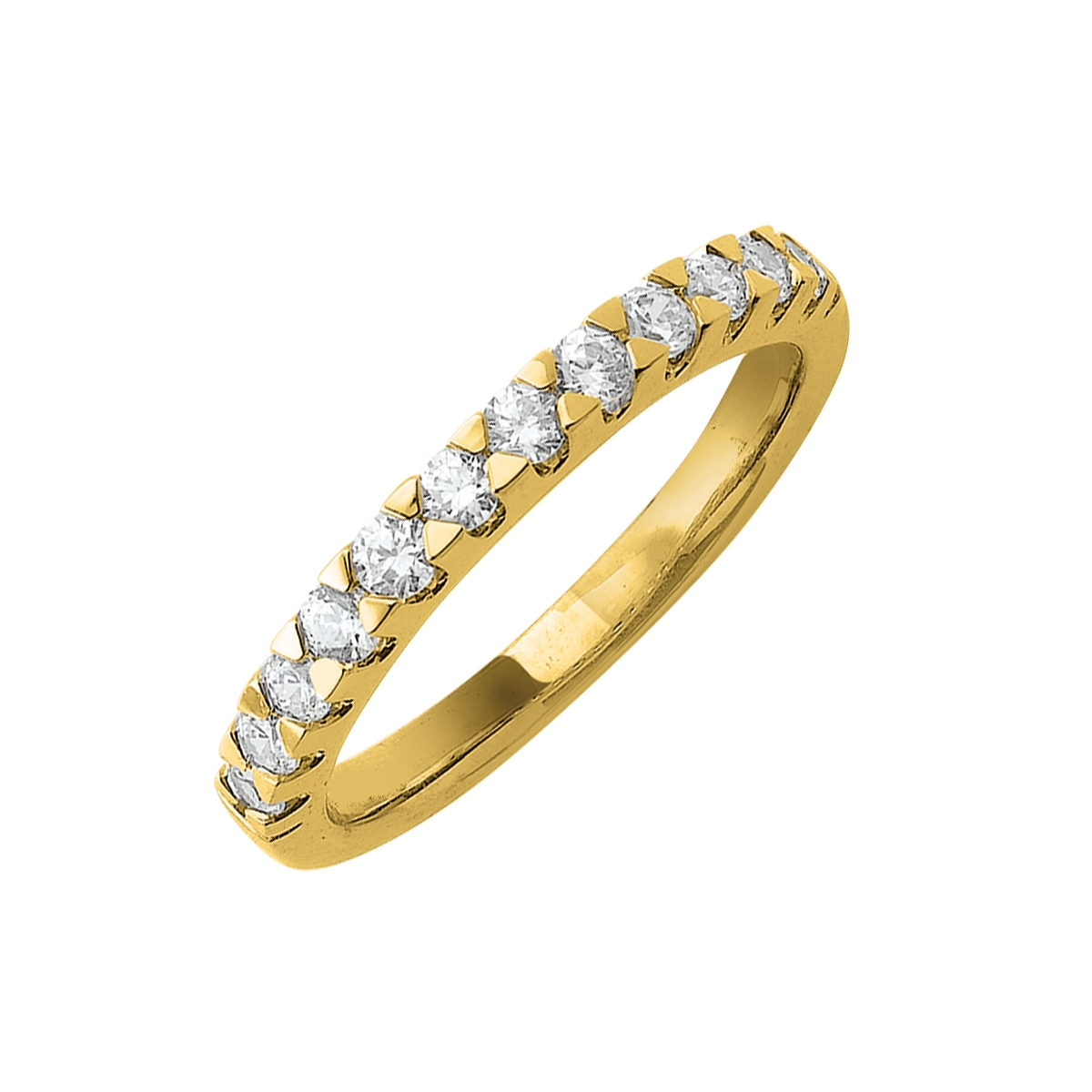 Alliance demi-tour serti griffes or jaune - Diamants synthétiques 0,50 carat
