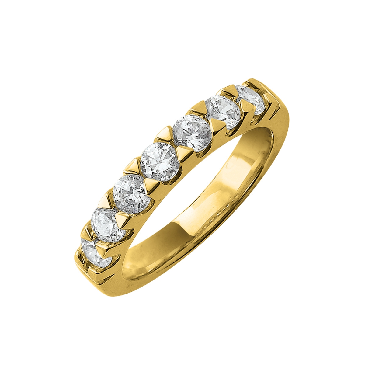 Alliance demi-tour serti griffes or jaune - Diamants synthétiques 1,00 carat