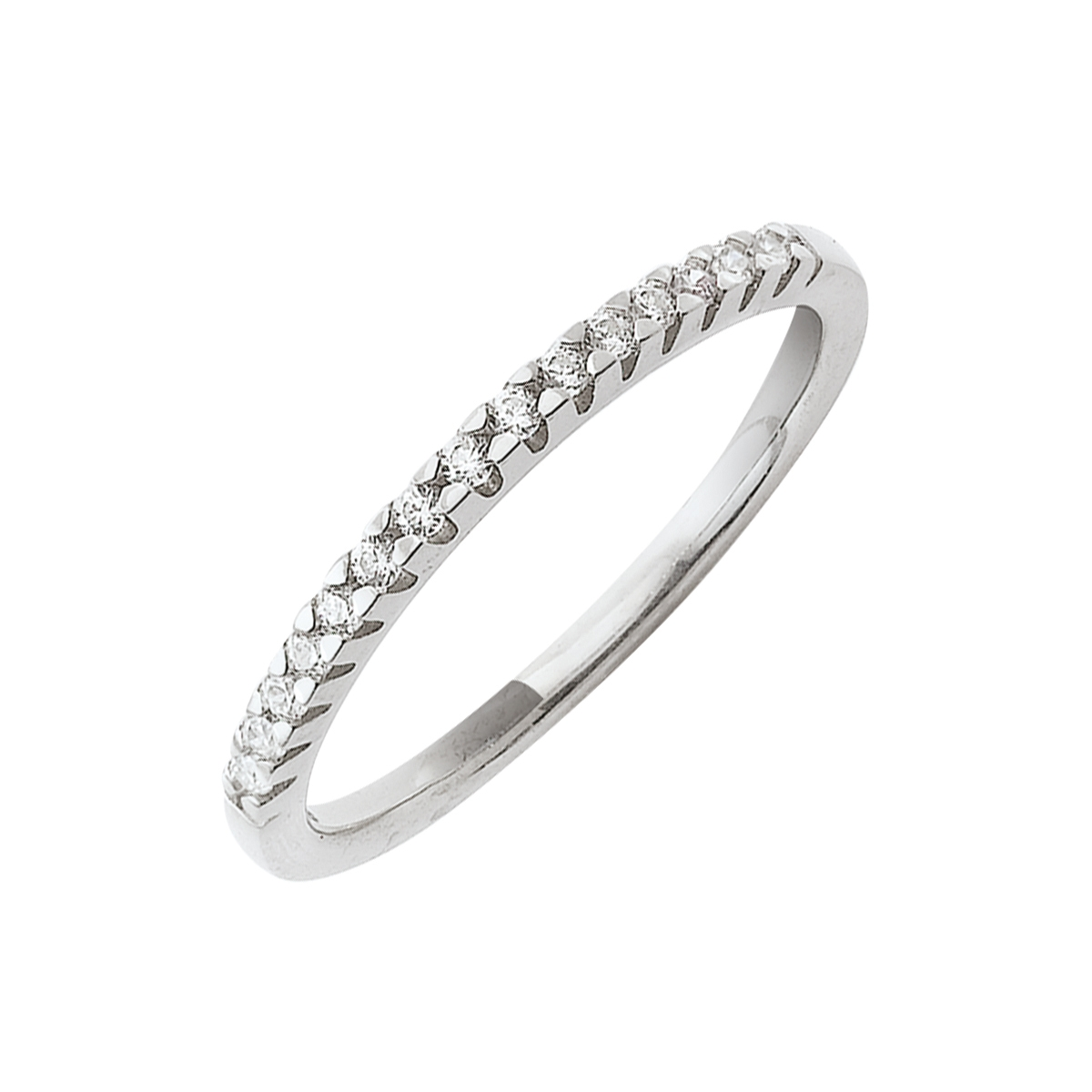 Alliance demi-tour serti griffes or blanc - Diamants synthétiques 0,15 carat