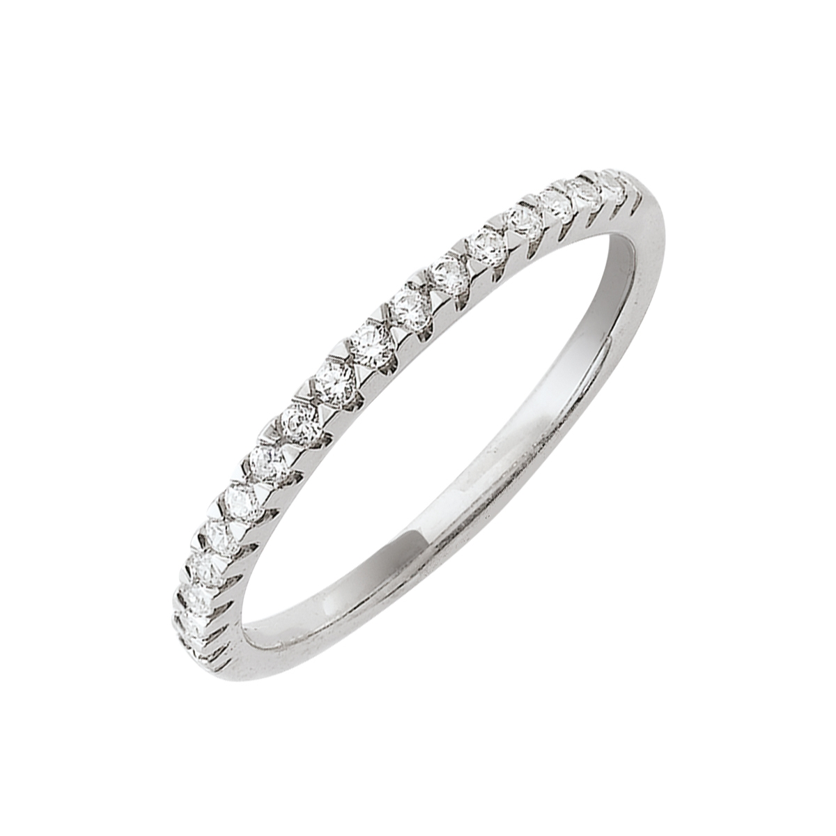 Alliance demi-tour serti griffes or blanc - Diamants synthétiques 0,20 carat