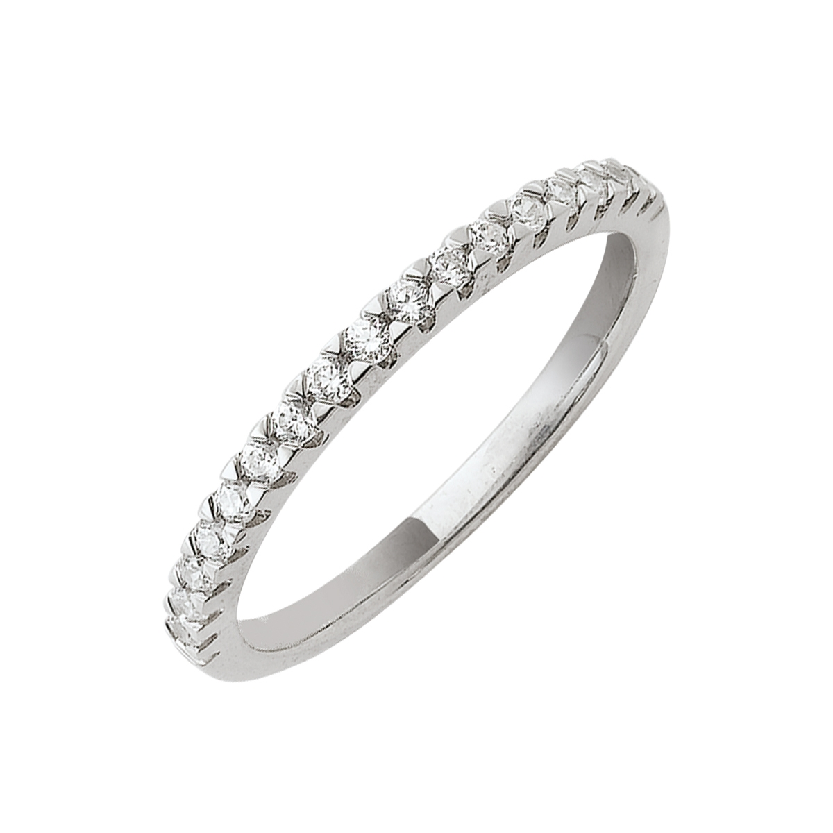 Alliance demi-tour serti griffes or blanc - Diamants synthétiques 0,25 carat