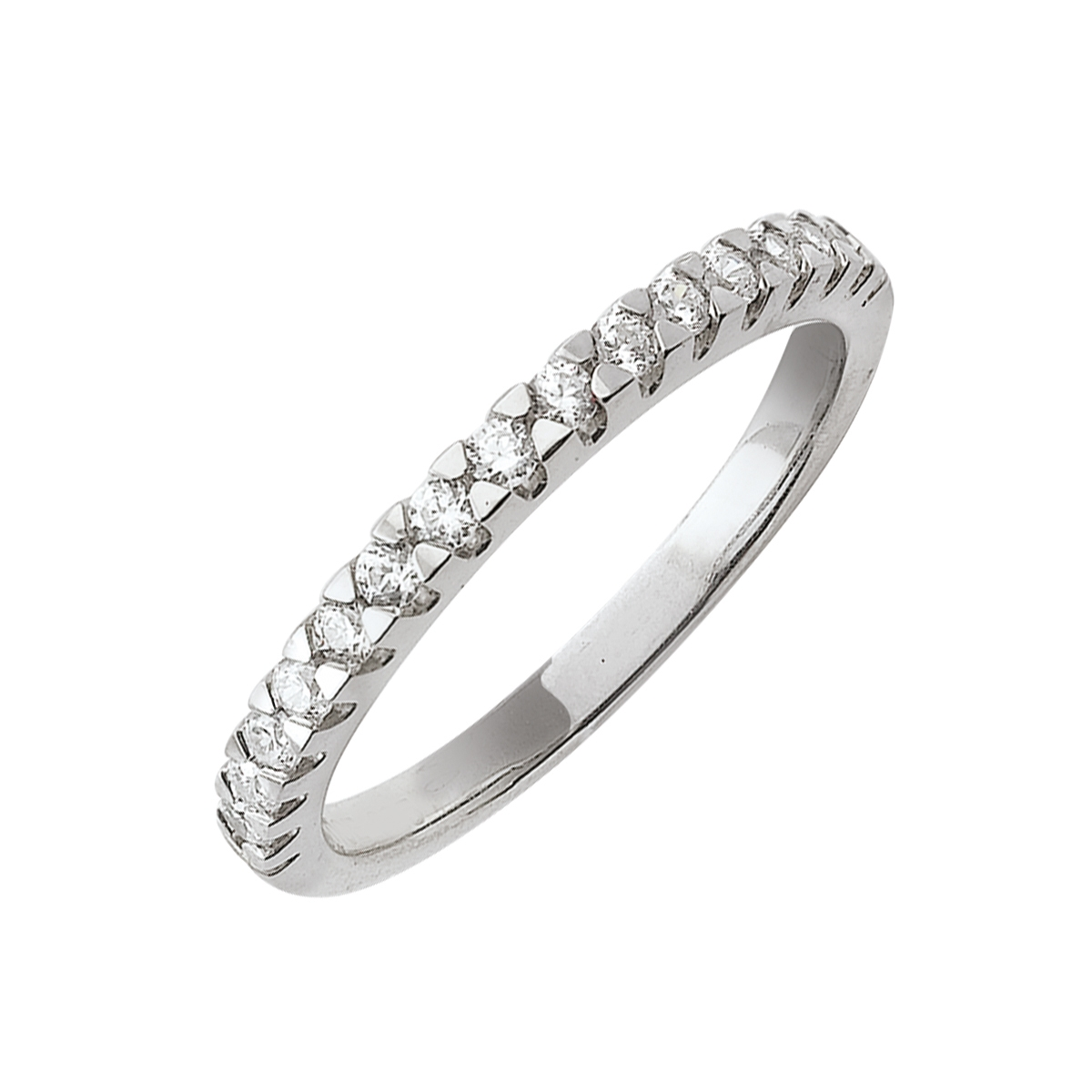 Alliance demi-tour serti griffes or blanc - Diamants synthétiques 0,35 carat