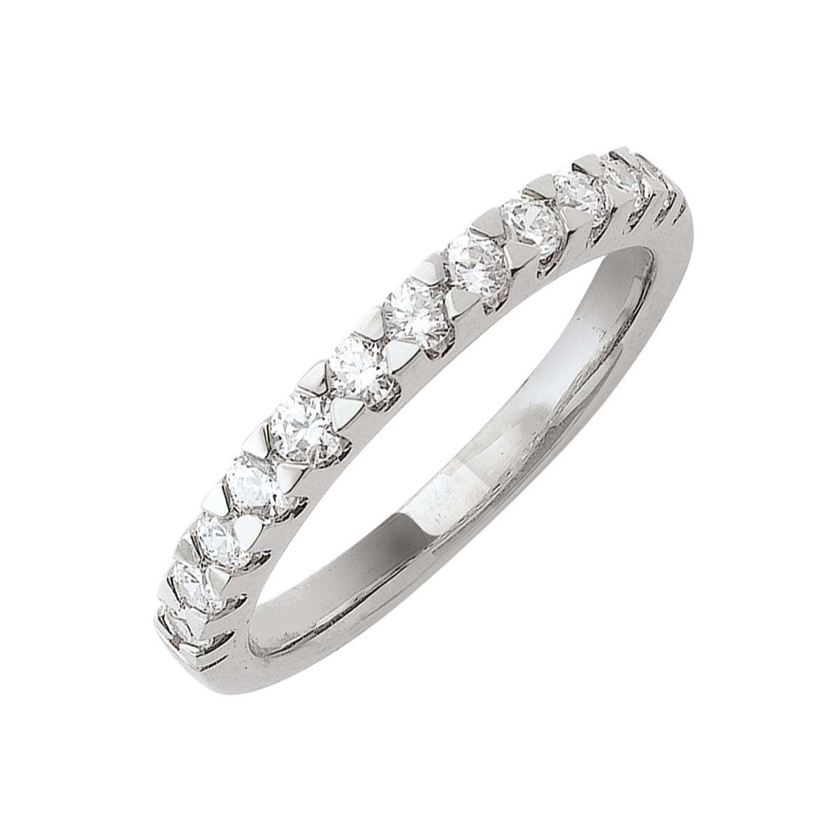 Alliance demi-tour serti griffes or blanc - Diamants synthétiques 0,50 carat