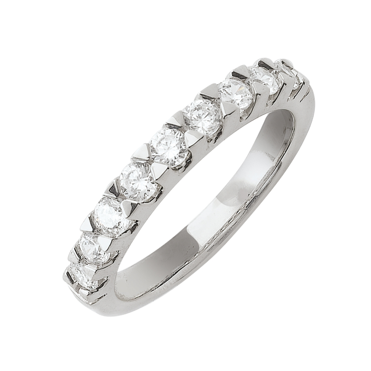 Alliance demi-tour serti griffes or blanc - Diamants synthétiques 0,75 carat