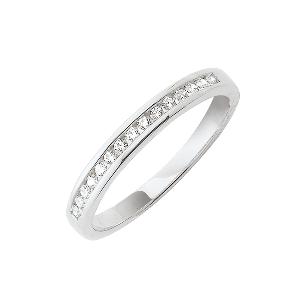 Alliance demi-tour serti rail or blanc - Diamants synthétiques 0,15 carat