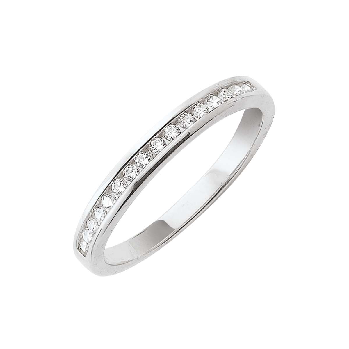 Alliance demi-tour serti rail or blanc - Diamants synthétiques 0,20 carat