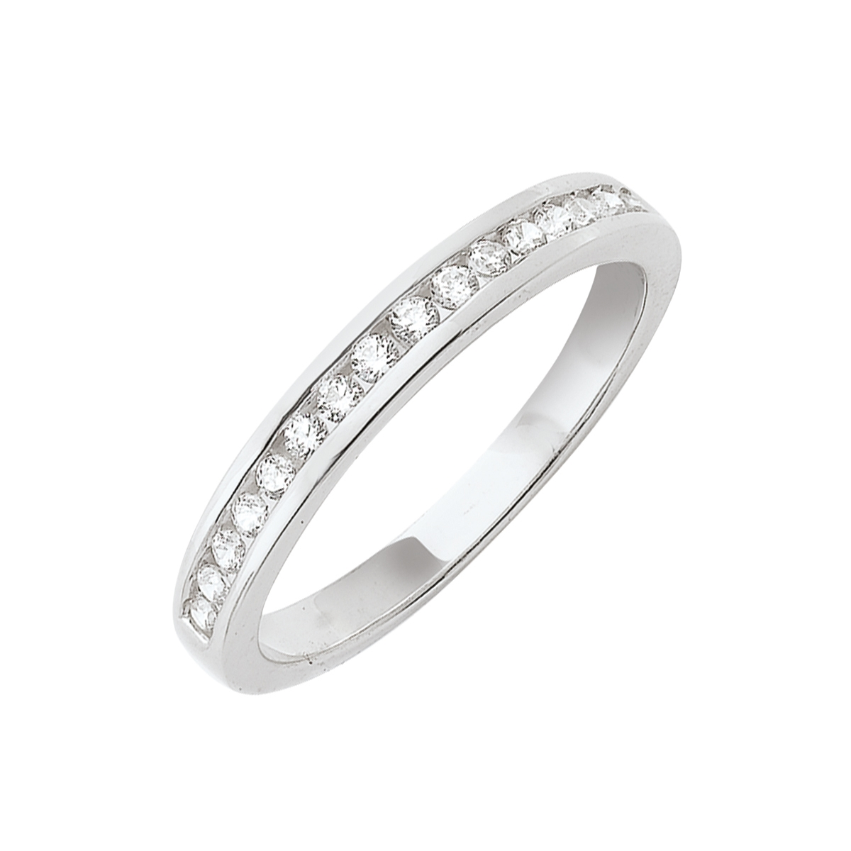 Alliance demi-tour serti rail or blanc - Diamants synthétiques 0,25 carat
