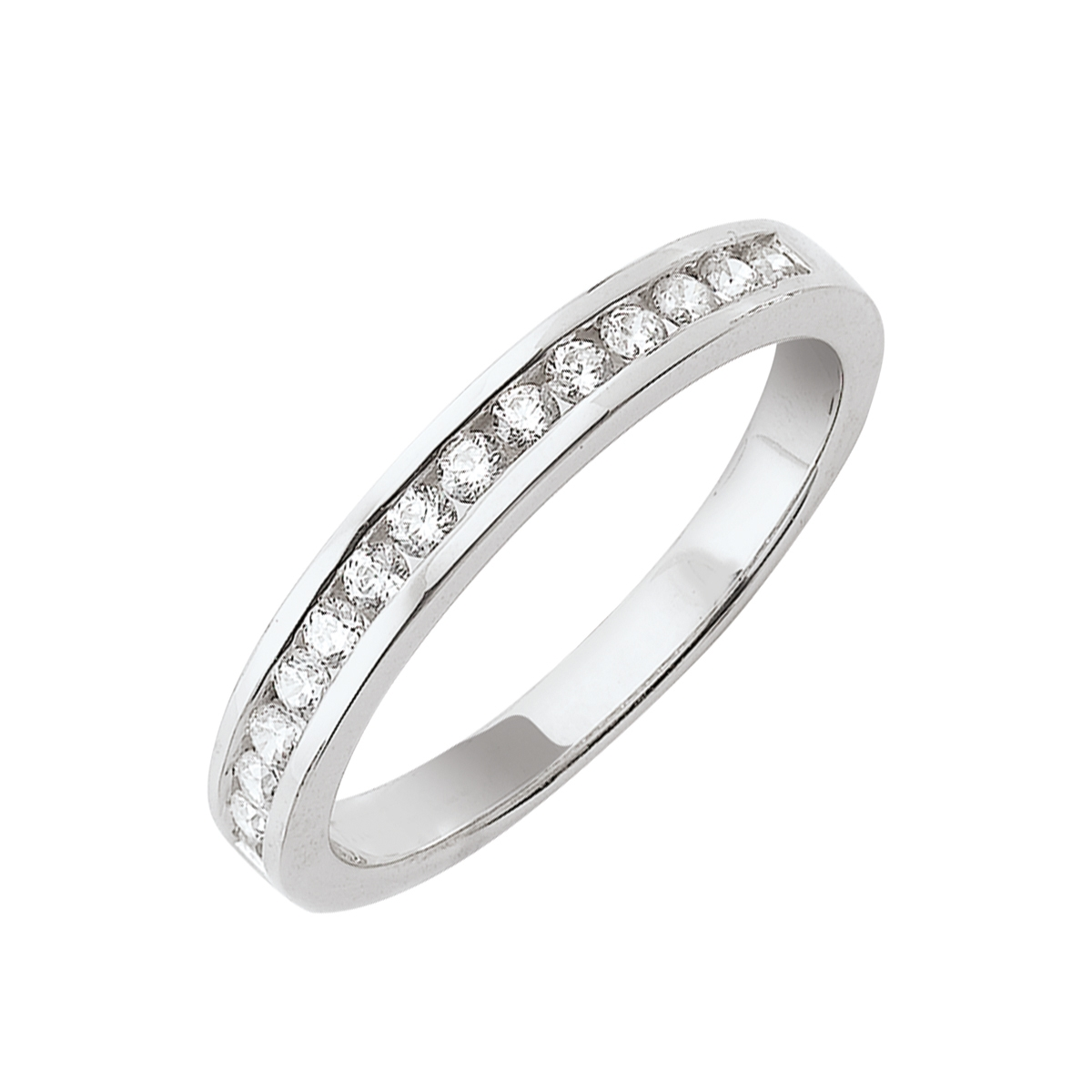 Alliance demi-tour serti rail or blanc - Diamants synthétiques 0,50 carat