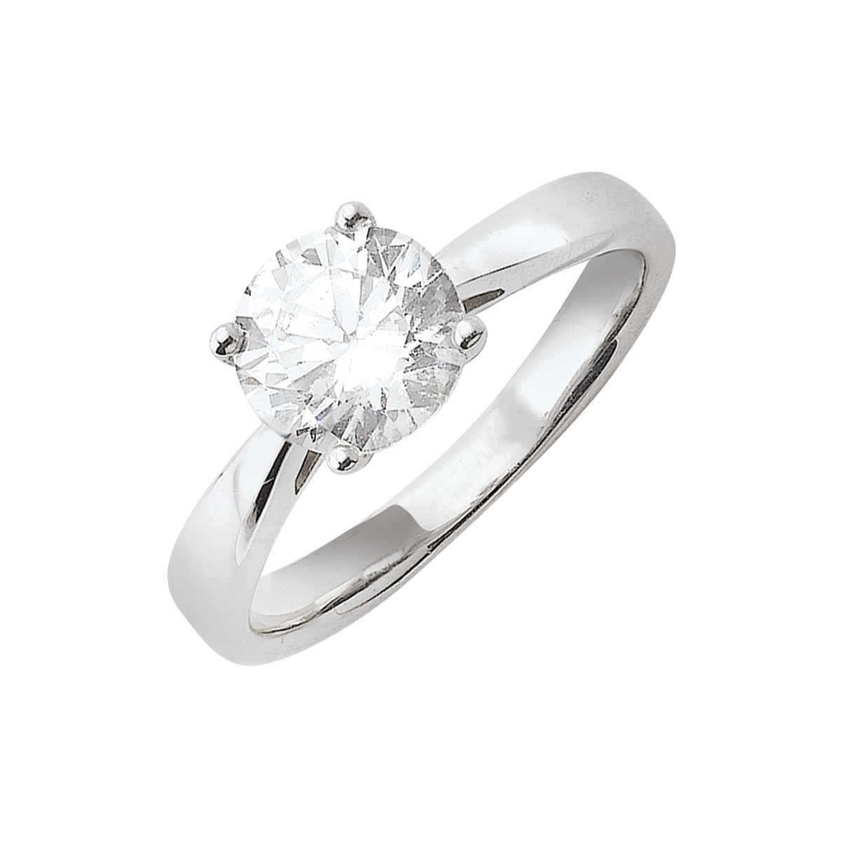 Solitaire or blanc - Diamant synthétique 1,50 carat