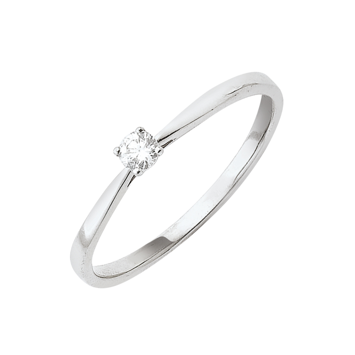 Solitaire or blanc - Diamant synthétique 0,10 carat