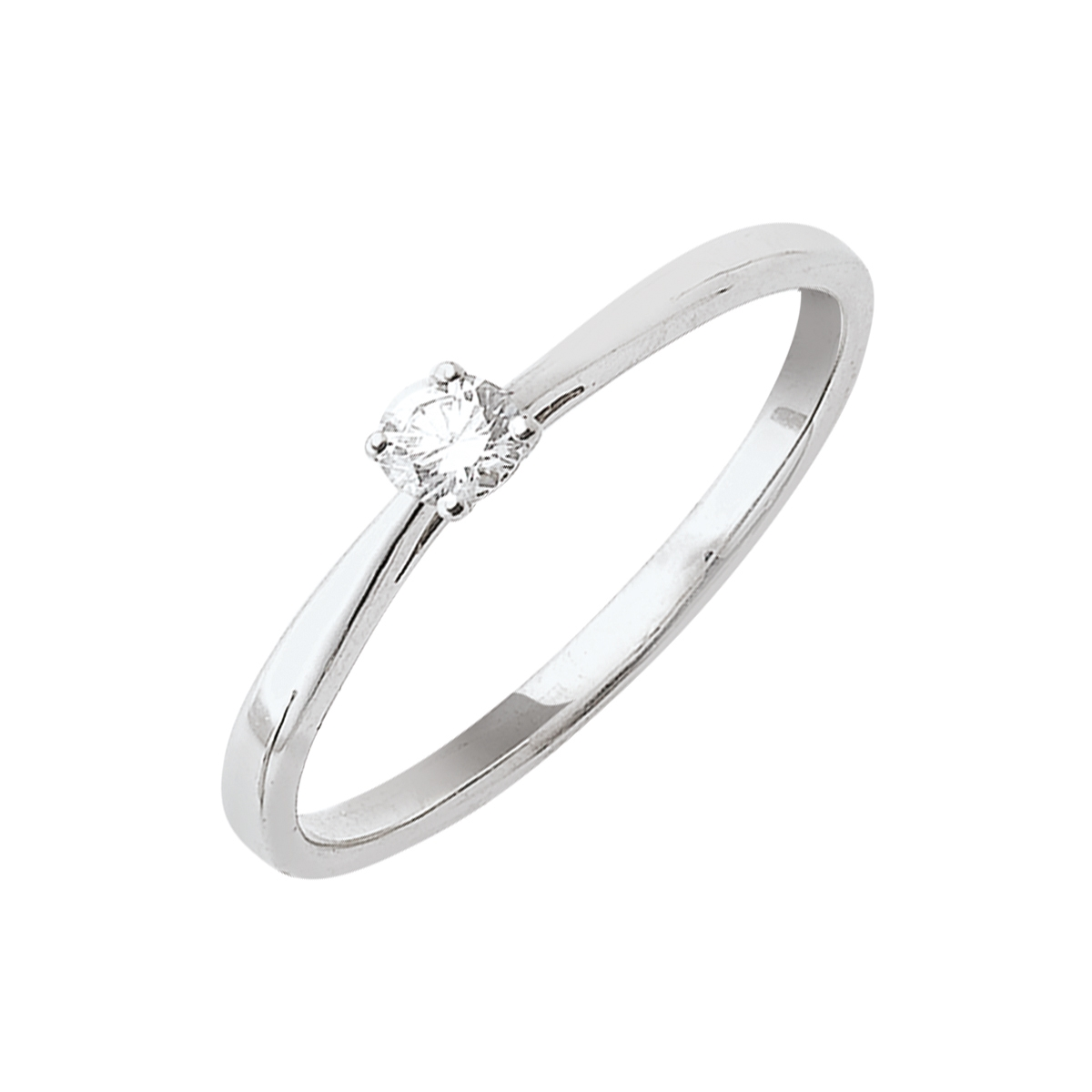 Solitaire or blanc - Diamant synthétique 0,15 carat