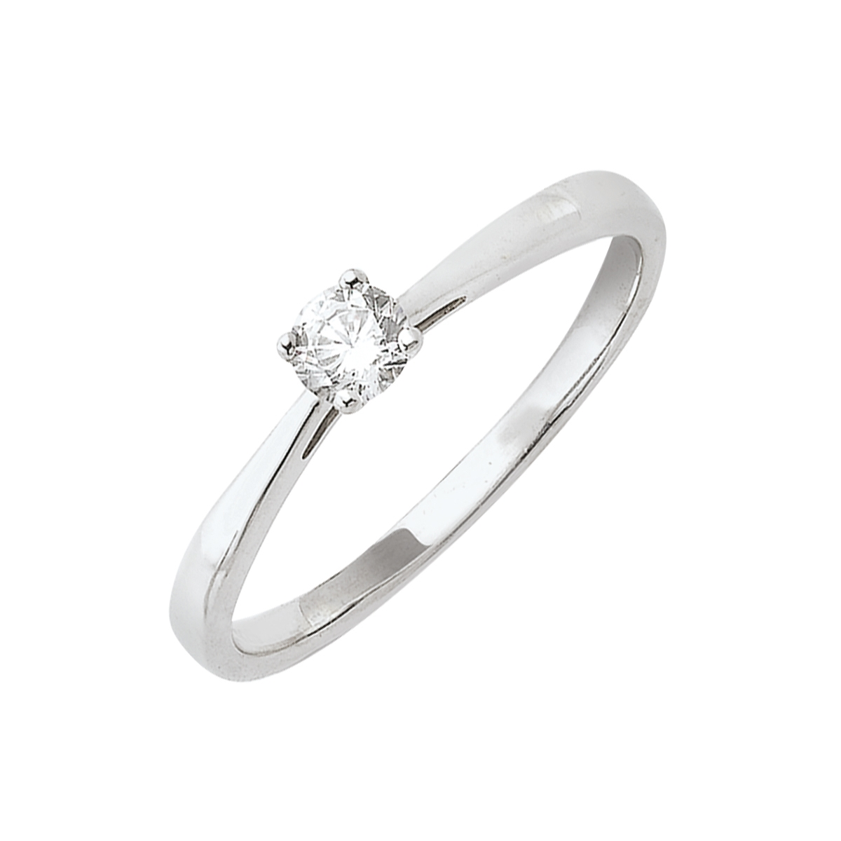 Solitaire or blanc - Diamant synthétique 0,20 carat