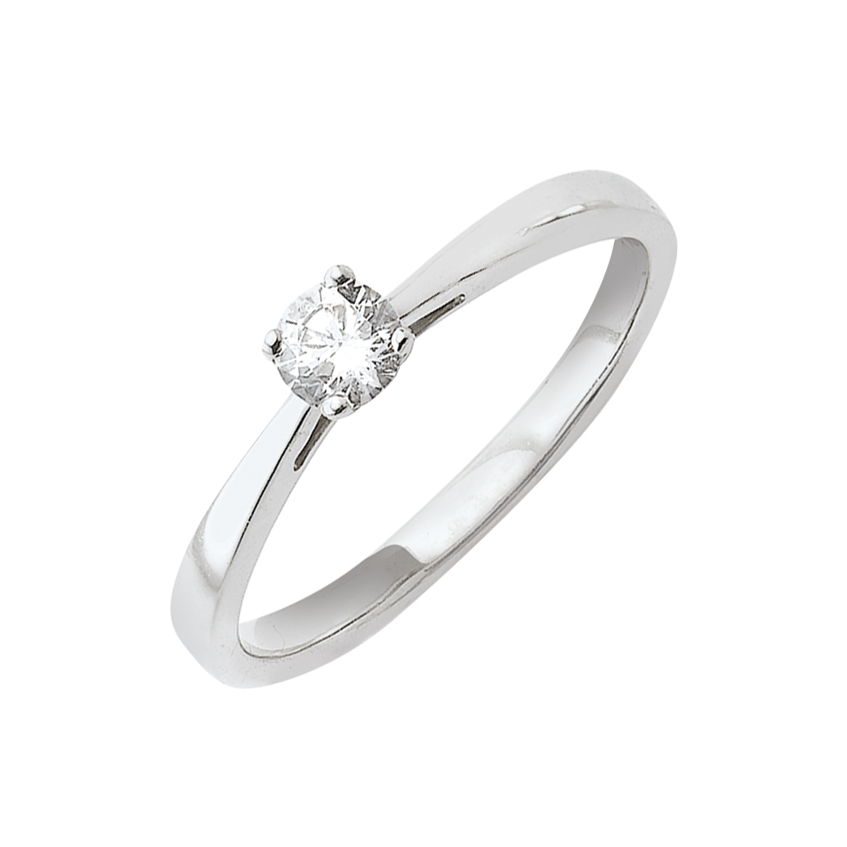 Solitaire or blanc - Diamant synthétique 0,25 carat