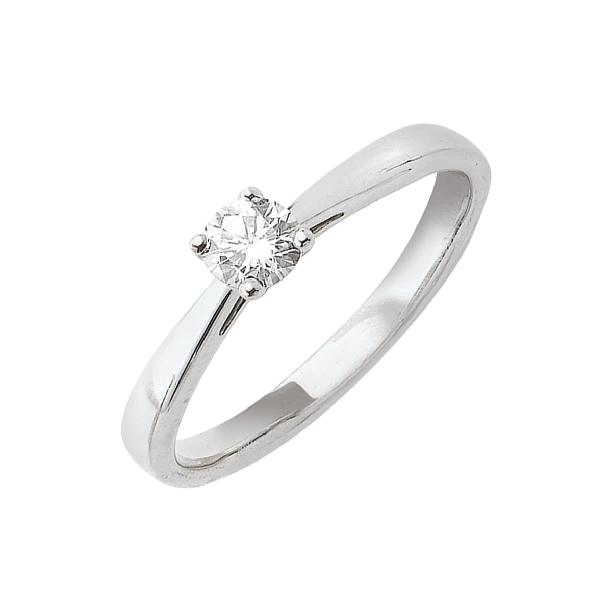 Solitaire or blanc - Diamant synthétique 0,30 carat