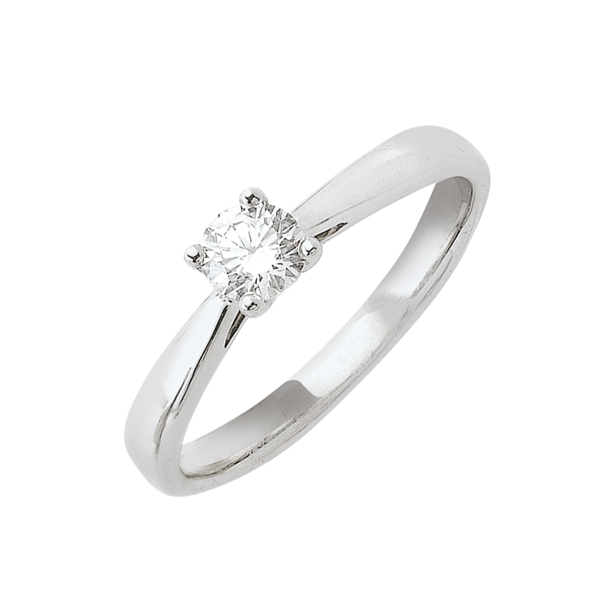 Solitaire or blanc - Diamant synthétique 0,40 carat