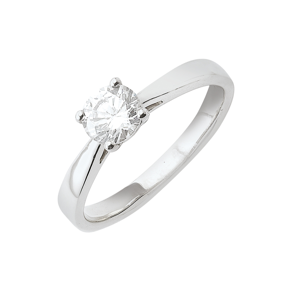 Solitaire or blanc - Diamant synthétique 0,50 carat