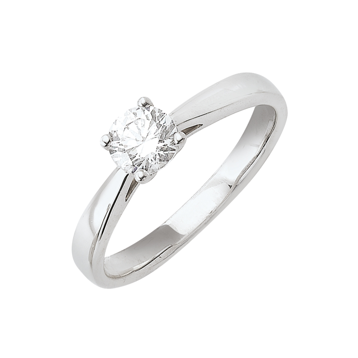 Solitaire or blanc - Diamant synthétique 0,75 carat