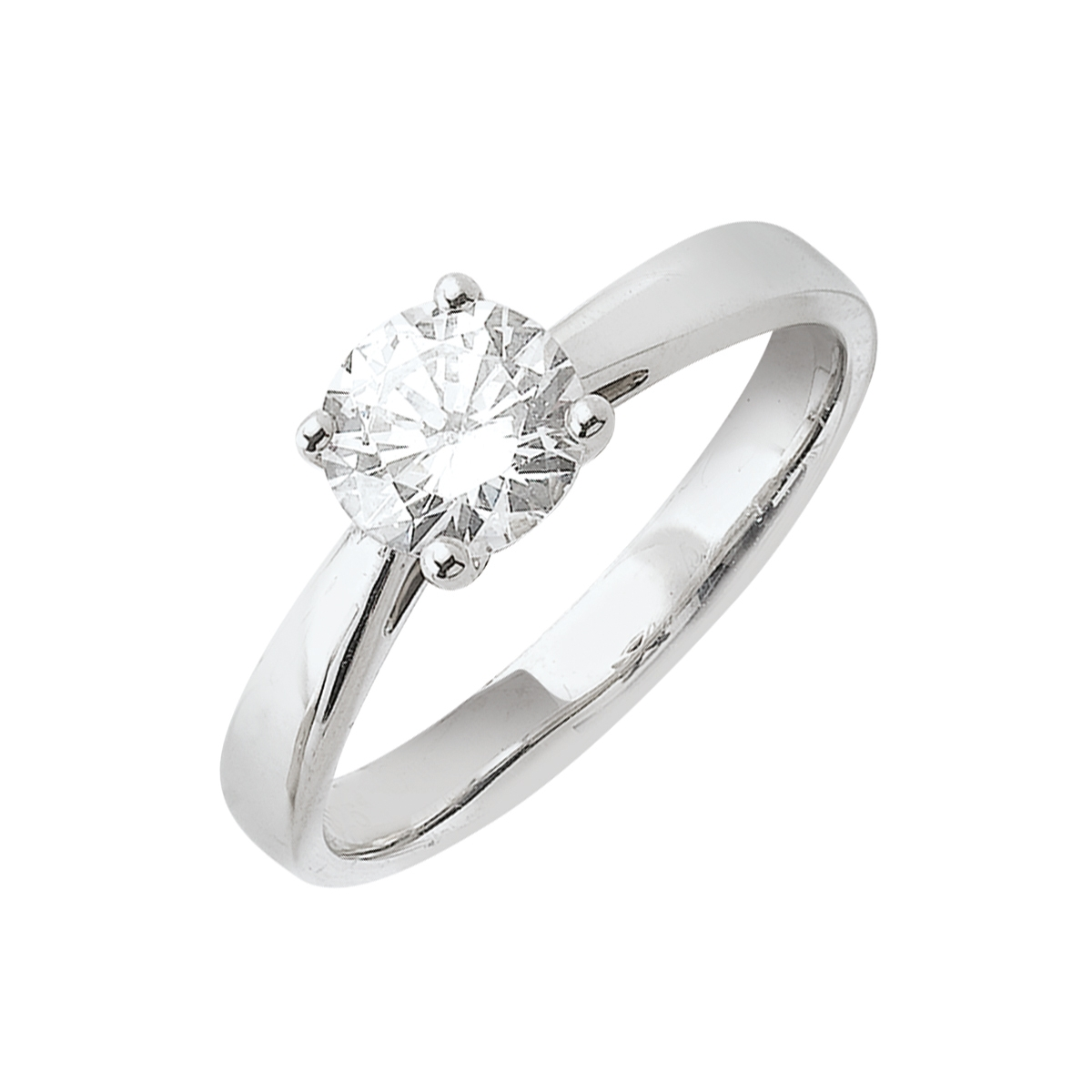 Solitaire or blanc - Diamans synthétique 1,00 carat